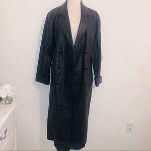 vintage black leather trench coat m l Donna Pelle
